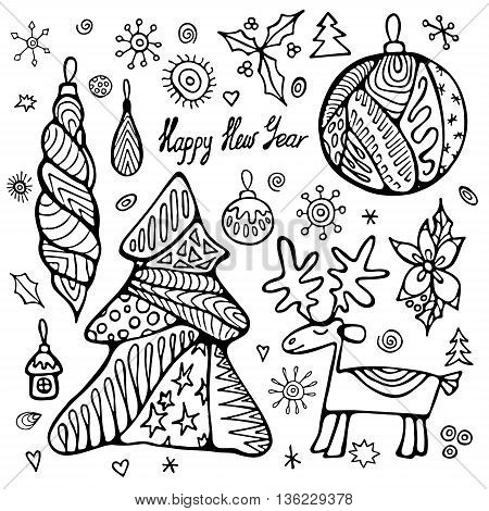 stock vectorchristmas set with tree boll snowflakes. hand draw pattern