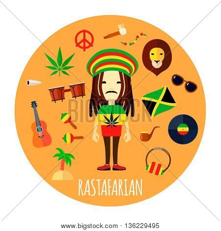 Member of rastafari belief and way of life character accessories flat round yellow background abstract vector illustration