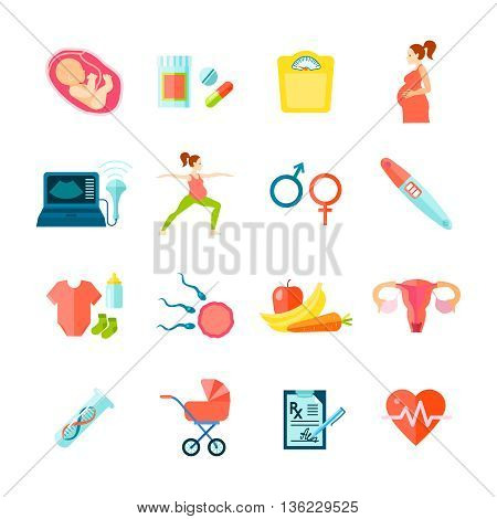 Pregnancy icons set with healthcare symbols flat isolated vector illustration