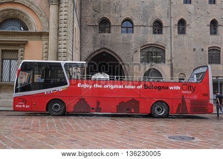 Bologna, Italia - June, 18, 2016: tourist bus in a center of Bologna, Italy
