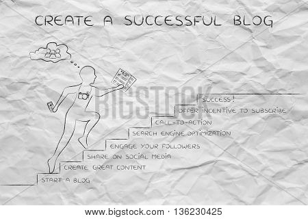 Create A Successful, Man Running On Steps