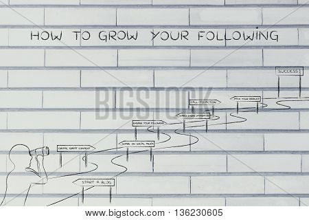 How To Grow Your Following, Man Looking At Intricate Path