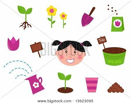 Garden, spring & nature icons and elements - green and purple