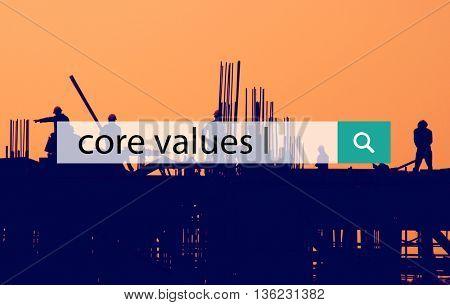 Core Values Ethnics Focus Goals Mission Policy Concept