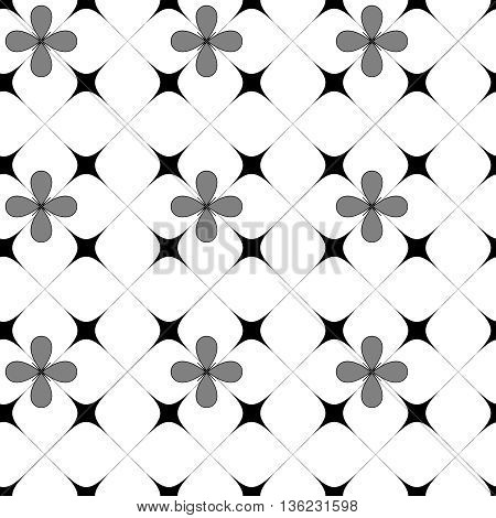 Flower and square seamless pattern.Fashion graphic background design. Modern stylish abstract texture. Monochrome template for prints textiles wrapping wallpaper website etc. VECTOR illustration