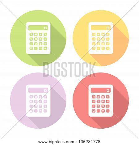 Mathematic Calculator Flat Style Design Icons Set