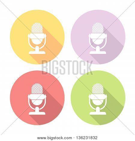Microphone Flat Icons Set