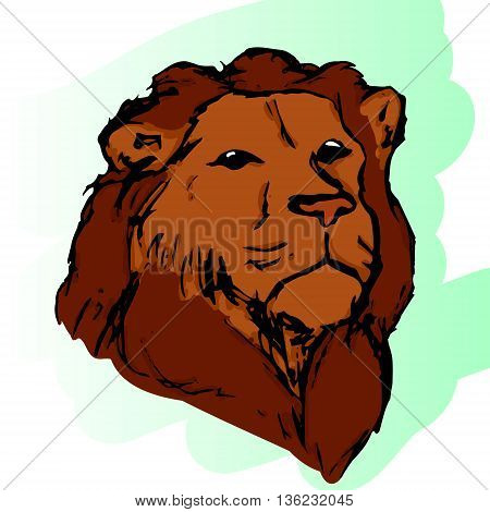 Graphic image of a lion in color. The head of a lion abstract pattern. Lion with mane vector