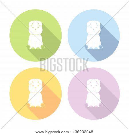 Sitting Cute Dog Flat Icons Set