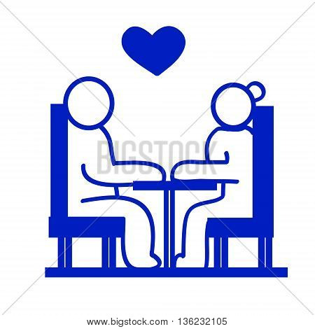 Drawing in blue ink. Two people sitting at the table. Symbol date meeting couples. Vector illustration