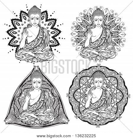 Ornament beautiful card with Buddha. Geometric element hand drawn. Medallion, yoga, india, arabic, lotus Buddha was a sage on whose teachings Set buddha with mandala to color coloring books for adults