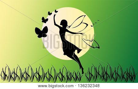 Fairy silhouette design, beautiful  and magic illustration scene