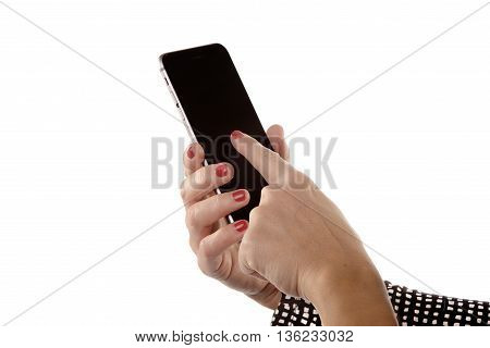 Smartphone manipulated by the hands of a woman