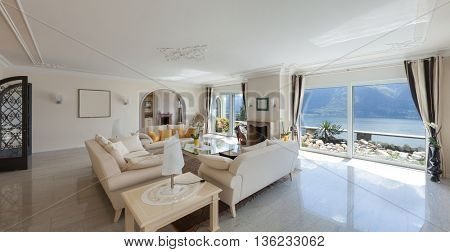 living room in luxury house, comfortable lounge
