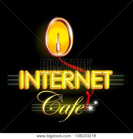 easy to edit vector illustration of Neon Light signboard for Internet Cafe