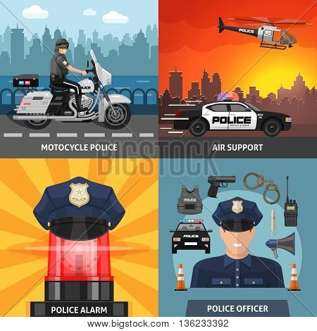 Four square colored police icon set with headlines motorcycle police air support police alarm and police officer vector illustration