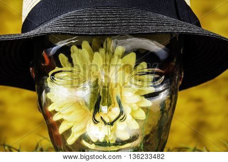 clear glass human head with sunflower inside wearing a black and white hat on yellow background
