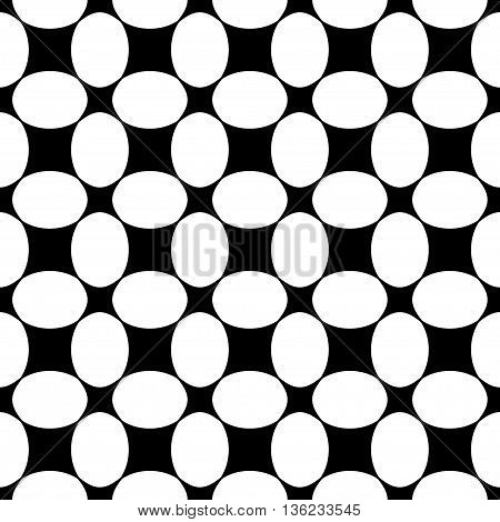 Oval and square seamless pattern. Fashion graphic background design. Modern stylish abstract texture. Monochrome template for prints textiles wrapping wallpaper website etc. VECTOR illustration