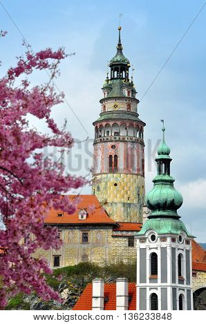 Tower of Cesky Krumlov castle church and pink flowering tree in the foreground.