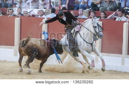 Ubeda SPAIN - September 29 2011: Noelia Mota bullfighter on horseback spanish Ubeda Jaen Spain