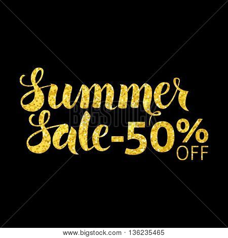 Gold Summer Sale 50 Off Lettering Over Black