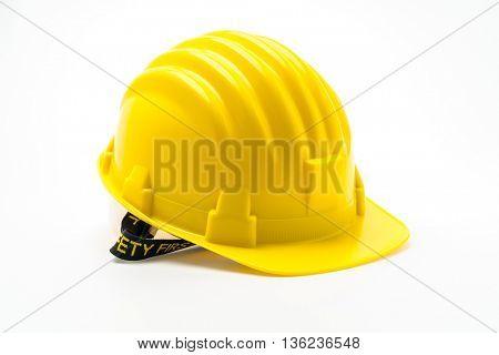 Yellow Hard Plastic Construction Helmet On White Background