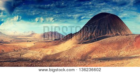 Fantastic mountain scenery landscape, Fuerteventura, Spain. Toned image