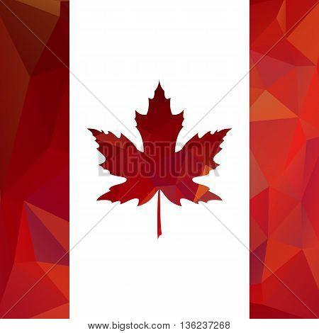 Maple Leaf. Card in polygon format. Vector illustration