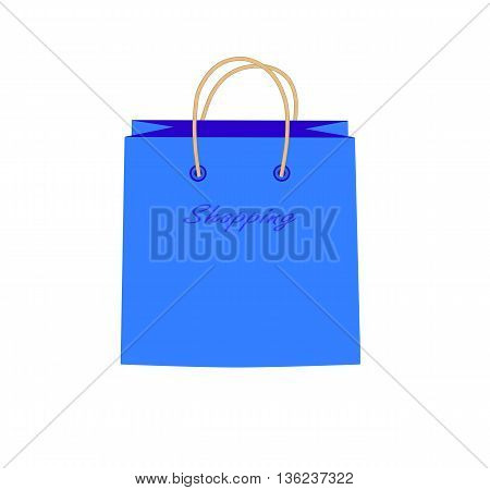 Blue shopping bag with the word
