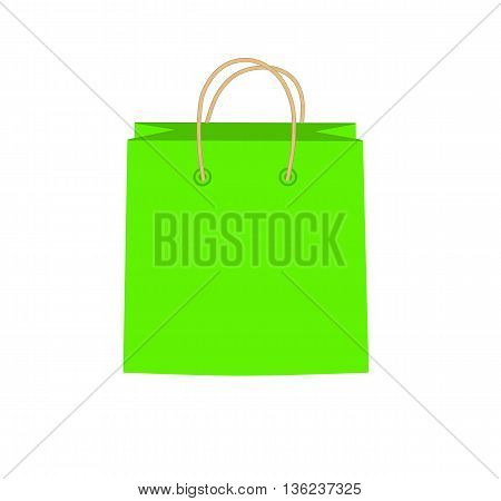 Green shopping bag - modern vector illustration.