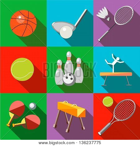 Set icons sports equipment with a long shadow in the style flat