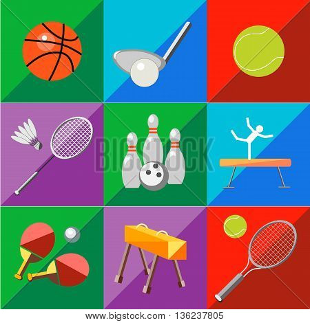 Set icons sports equipment on a two-tone background in the style of flat