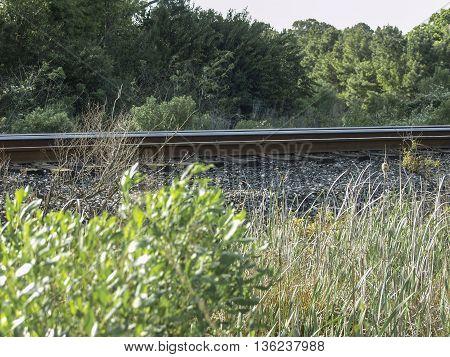 A rail road track running through a field.