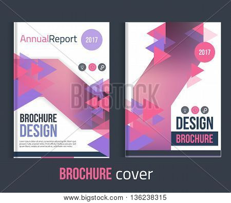 Set of Vector brochure cover templates with triangles. Professional Business presentation . A4 size Annual report template. Clean catalogue.