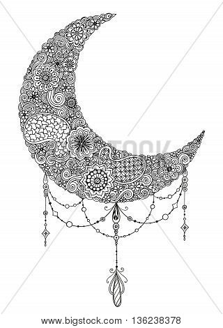 Hand drawn moon with flowers, mandalas and paisley. Black and white floral pattern. Moon card for the holy month of Ramadan. Vector Illustration.