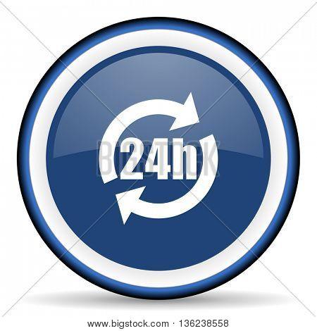 24h round glossy icon, modern design web element
