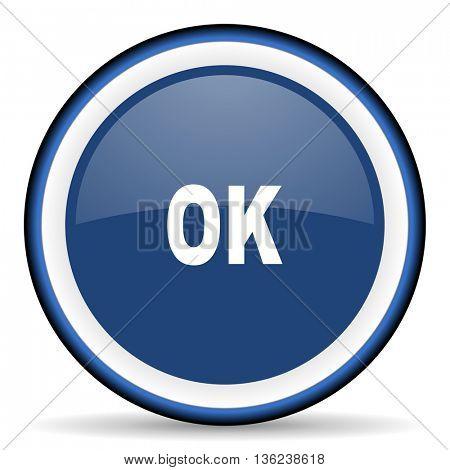ok round glossy icon, modern design web element