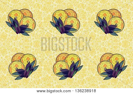 Seamless background with leaves and circles on a white background.