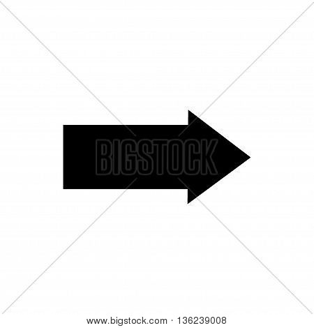 Arrow sign black icon isolated on white background. Vector to right symbol marks. Black sticker isolated on white background vector illustration. Flat vector image. Vector illustration.