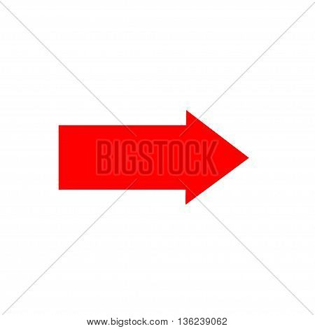 Arrow sign red icon isolated on white background .Vector to right symbol marks. Red sticker isolated on white background vector illustration. Flat vector image. Vector illustration.