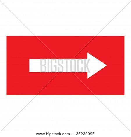 Arrow sign white icon in red rectangle. Isolated on white background .Vector to right symbol marks. Arrow sign picture. Red sticker vector illustration. Flat vector image. Vector illustration.