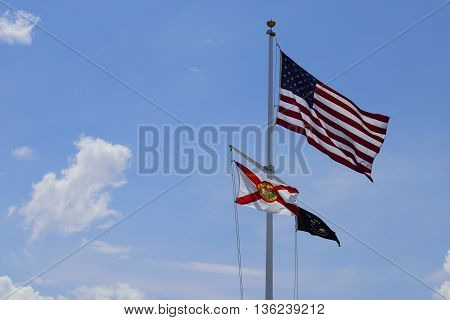 American,POW and Florida flag at Honeymoon Park.