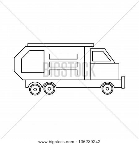 Garbage truck, waste collector icon in outline style isolated on white background