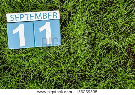 September 11th. Image of september 11 wooden color calendar on green grass lawn background. Autumn day. Empty space for text.