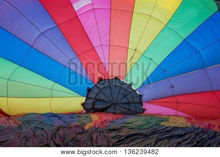 geometric abstract view inside a multocolored hot air balloon