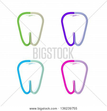 Isolated colorful tooth contour vector logo set. Tooth hygiene logotype collection on the white background. Dental implants icons group. Caries treatment sign