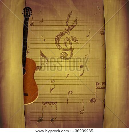 Vector illustration of musical background acoustic guitar with old sheets and music note signs key with breaks.