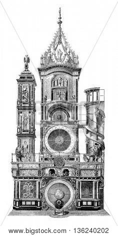 Strasbourg astronomical clock, vintage engraved illustration. Magasin Pittoresque 1843.