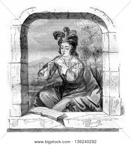 The Museum of Orleans, The flute player, vintage engraved illustration. Magasin Pittoresque 1843.