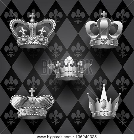 Set of crowns in black and white colors. Contains the Clipping Path